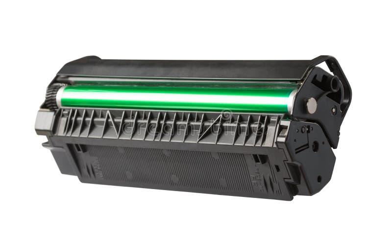 Printer toner cartridge. Closeup of printer toner cartridge isolated on white stock photo