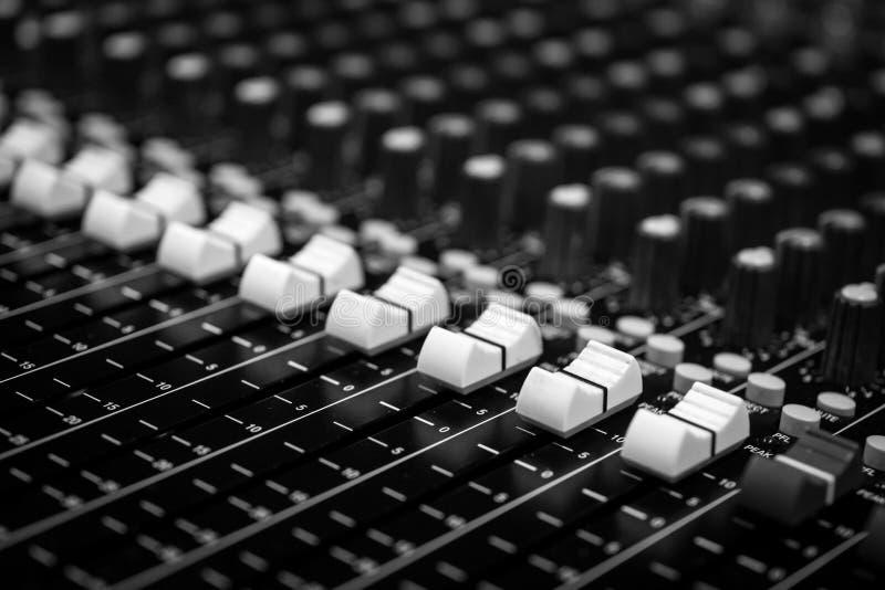 Closeup Professional Audio Mixing Console stock photography