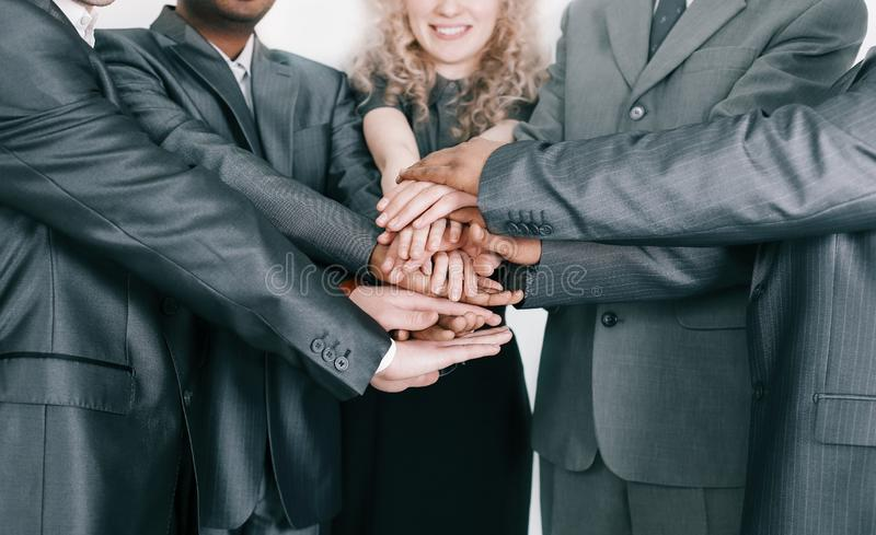 Closeup. professional business team showing their unity royalty free stock photo