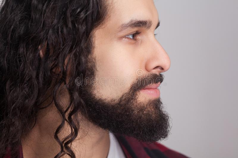 Closeup profile side view of handsome confident man with black l royalty free stock photos