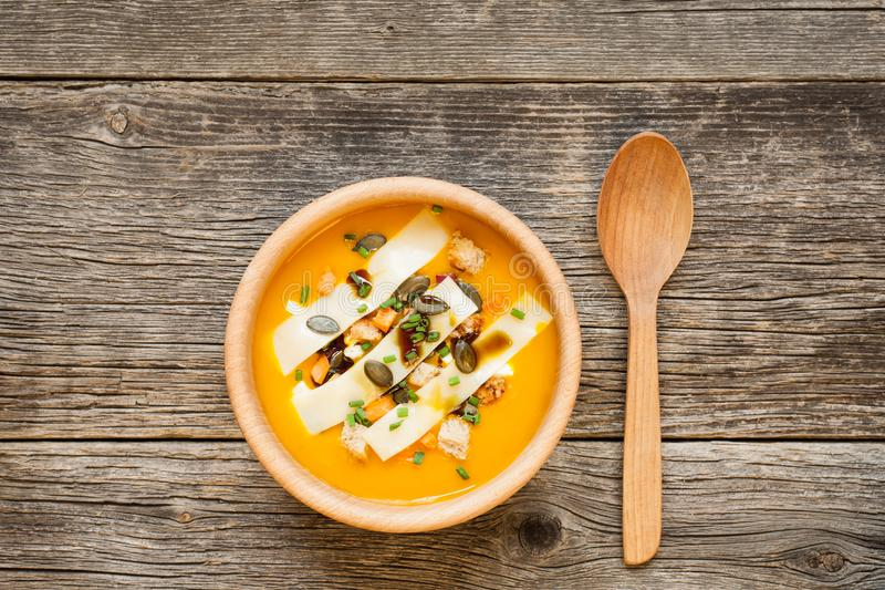 Hokkaido soup in bowl on wooden background. Top view stock images