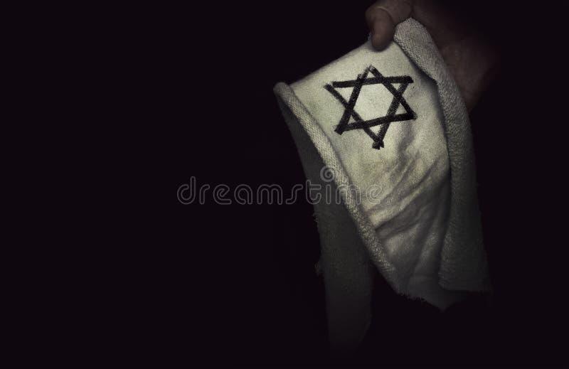 Closeup of a ragged Jewish badge stock images