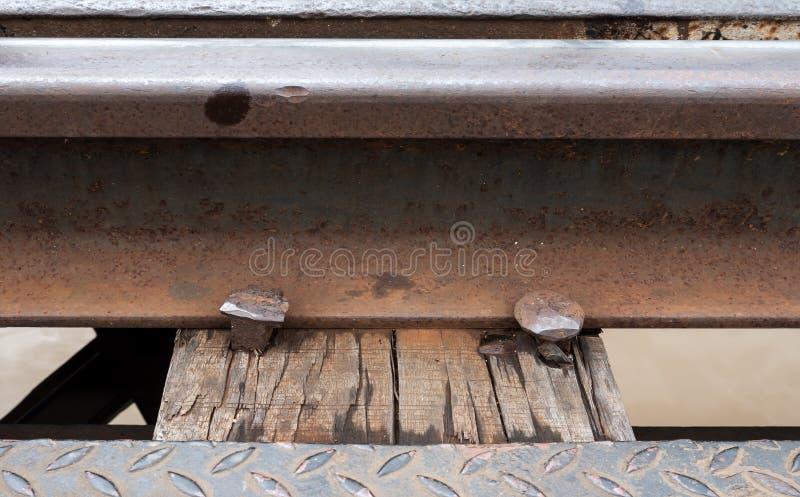 Closeup of the railway and metal peg royalty free stock photos