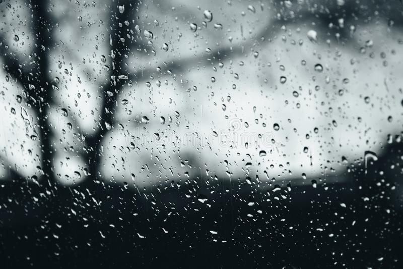 Closeup of rain droplets on glass window, water droplets with light reflection and refraction, blurred dark autumn royalty free stock image