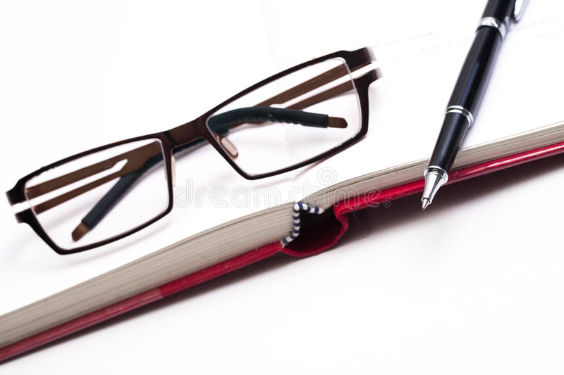 Download Closeup Of Reading Black Glasses On The Book With Pen Stock Image - Image: 34247445