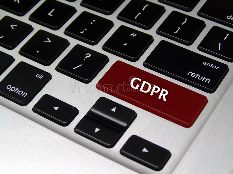 General Data Protection Regulation GDPR - Laptop Button. Closeup of red laptop button with GDPR written on it royalty free stock photos