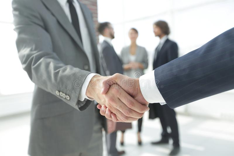 Closeup.reliable handshake of business partners royalty free stock photos