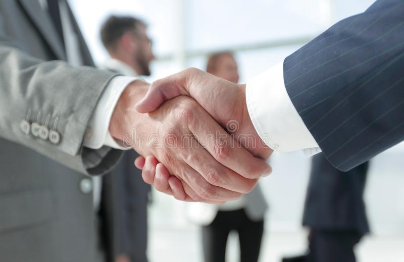 Closeup.reliable handshake of business partners royalty free stock image