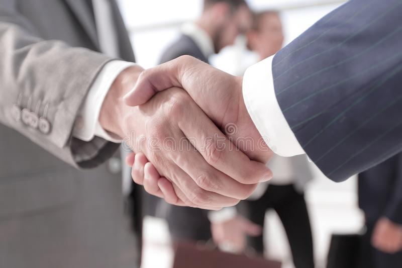 Closeup.reliable handshake of business partners royalty free stock photography