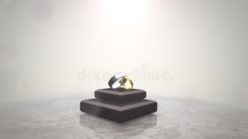 Closeup rings of love on wedding date, motion background. Elegant and luxury pastel style 3D illustration vector illustration