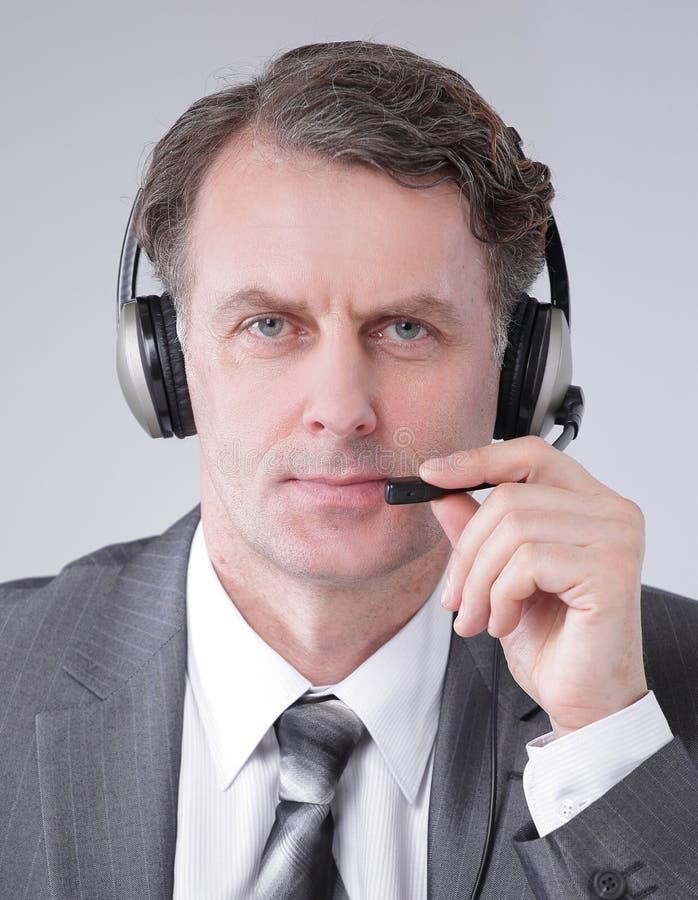 closeup ritratto della call center sicura degli impiegati fotografia stock