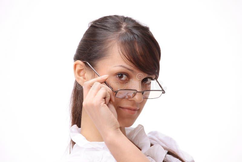 closeup Ritratto di riuscita giovane donna di affari immagine stock