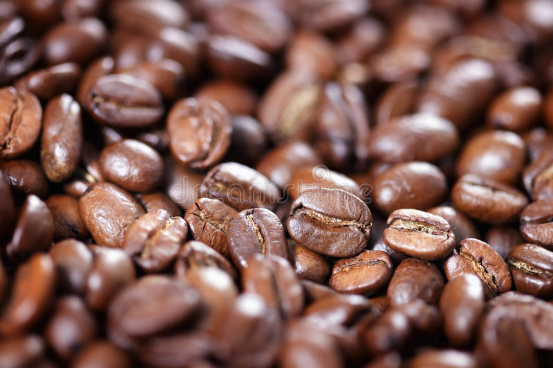 Closeup of roasted coffee beans stock images