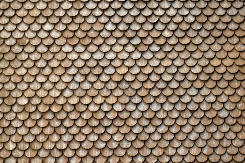Closeup of a roof of a Swiss farm, covered with round wooden shingle tiles stock photography