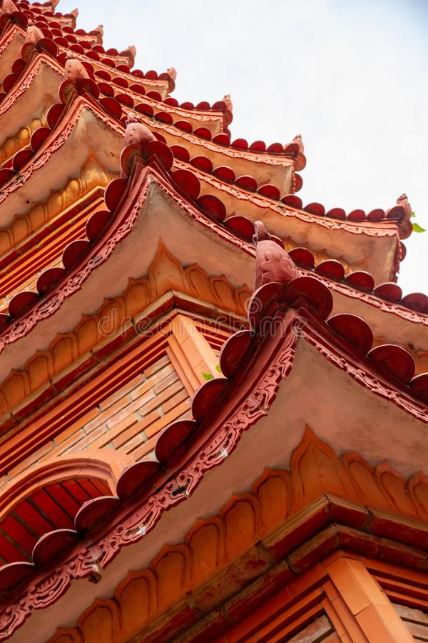 Closeup of roofline architectural details of the Tran Quoc Pagoda, Hanoi, Vietnam. Closeup of the beautiful red and orange repeating roofline of the iconic Tran stock photography