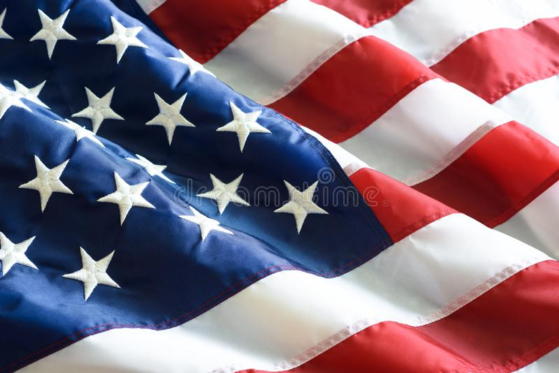 Close up ruffled American flag royalty free stock photography