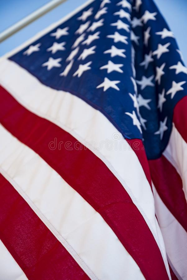Closeup of ruffled American flag. Stars and Stripes royalty free stock photos