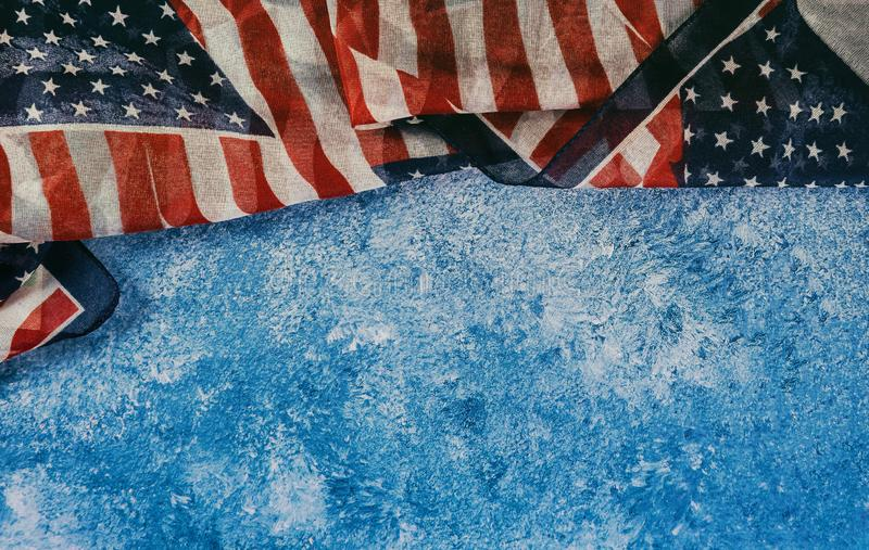 Closeup of ruffled American flag Independence day for Memorial Day. Independence day closeup of flag of the United States of America for Memorial Day, american royalty free stock images