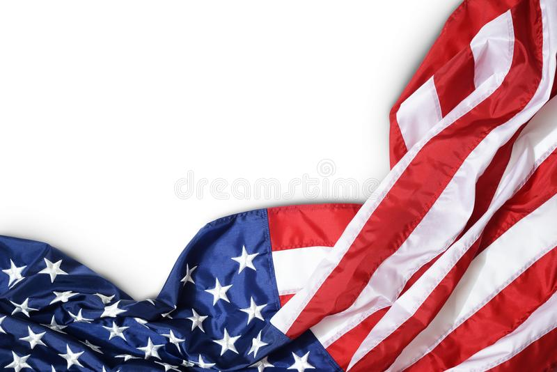 Ruffled American flag stock images
