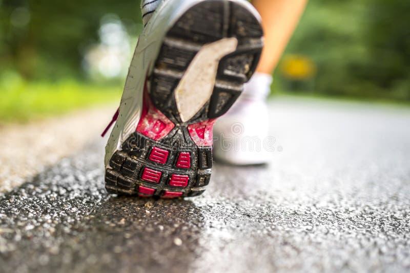 Closeup of runner feet. Running stock photography