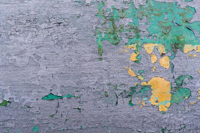 Closeup rusty colored metal, abstract grunge corroded steel background, retro vintage metallic backdrop, iron surface with shabby. Cracked paint and scratches stock photo