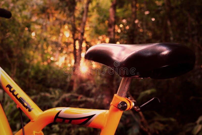 Closeup of saddle on a mountain bike stock images
