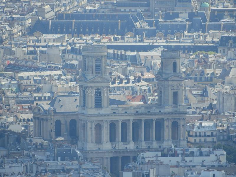 Closeup of Saint-Sulpice Church or Eglise Saint-Sulpice at sunset light from panoramic terrace of Tour Montparnasse. Aerial view stock photos
