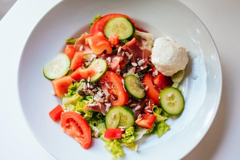 Closeup of salad with ham stock photo