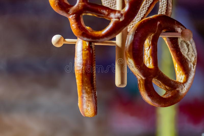 Closeup of salted pretzels in traditional german store photographed with shallow depth of field stock photography