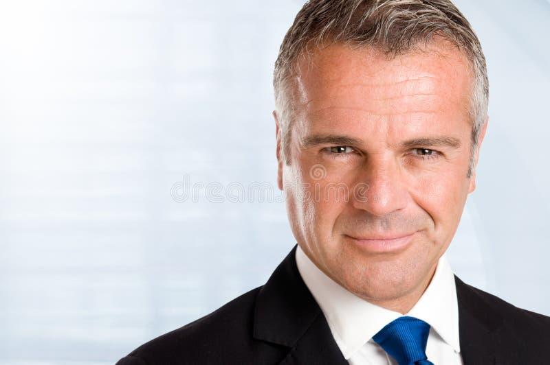Closeup satisfied businessman stock image