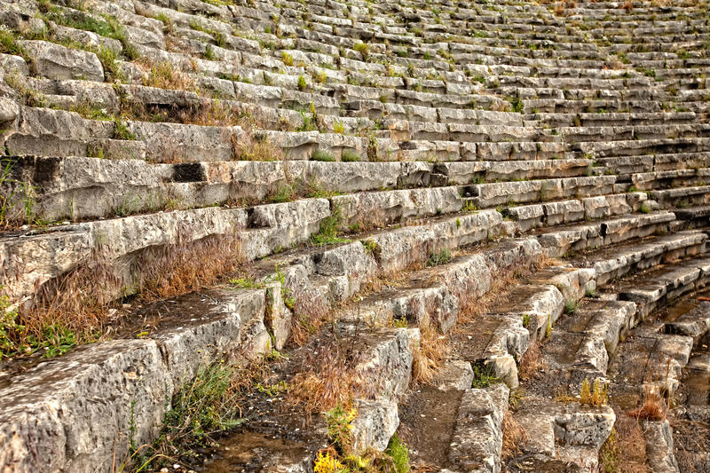 Closeup of seating at ancient amphitheater stock images