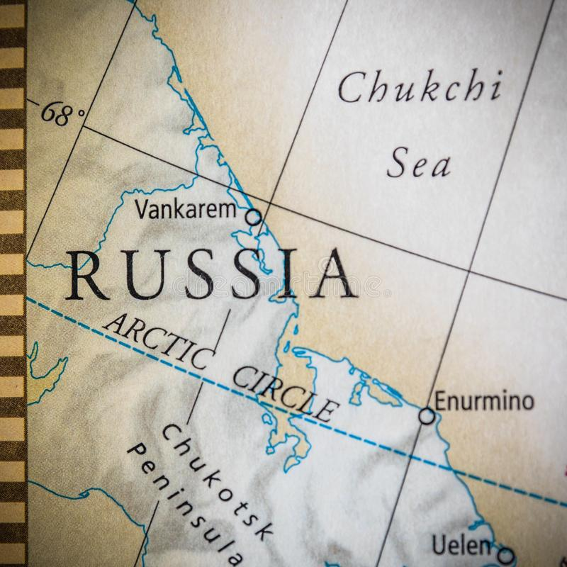 Selective Focus Of Eastern Russia On A Geographical And Political State Map Of The USA. Closeup Selective Focus Of Eastern Russia On A Geographical And Political stock photo
