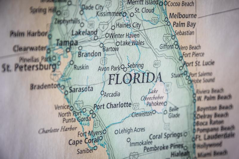 Selective Focus Of Florida State On A Geographical And Political State Map Of The USA. Closeup Selective Focus Of Florida State On A Geographical And Political stock photo