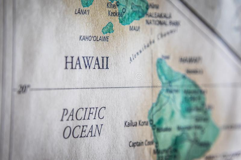 Selective Focus Of Hawaii Islands On A Geographical And Political State Map Of The USA. Closeup Selective Focus Of Hawaii Islands On A Geographical And Political royalty free stock photos
