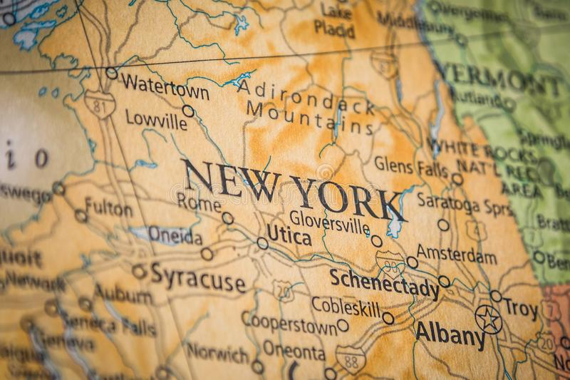 Selective Focus Of New York State On A Geographical And Political State Map Of The USA. Closeup Selective Focus Of New York State On A Geographical And Political royalty free stock photography