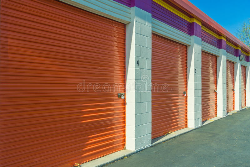 Closeup of Self Storage Building. A closeup of a self storage building with locking units royalty free stock photography