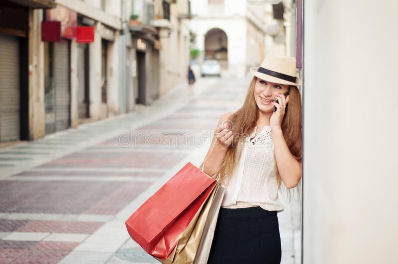 Closeup selfie-portrait of funny attractive girl tourist smiling stock photo