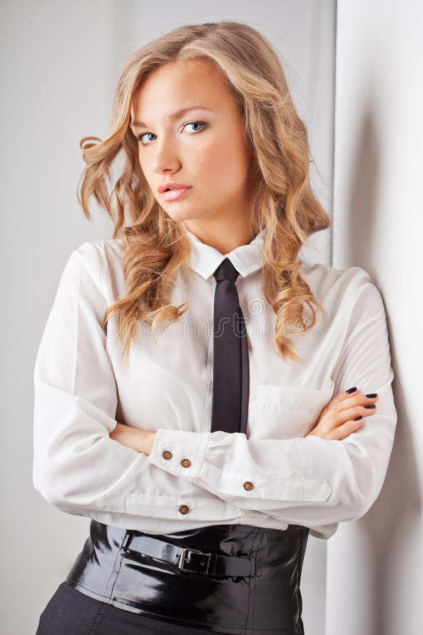 Closeup seriously businesswoman portrait stock images
