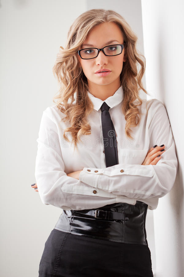 Closeup seriously businesswoman portrait royalty free stock photos