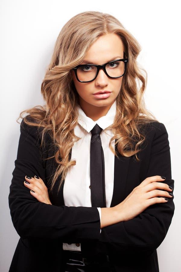 Closeup seriously businesswoman portrait stock photography