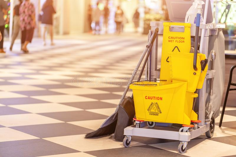 Closeup set of cleaning equipment in the Terminal 21 Pattaya shopping mall, Thailand royalty free stock photography