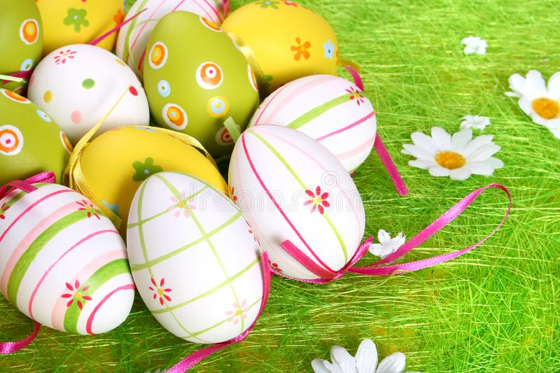 Closeup of several Easter eggs royalty free stock images