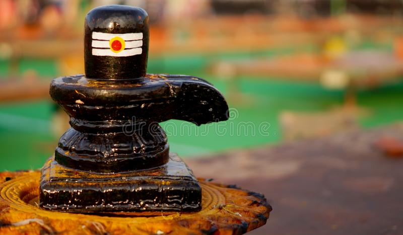 Closeup of Shiv linga,carved stone statue,the symbol of Hindu god Shiva royalty free stock photos