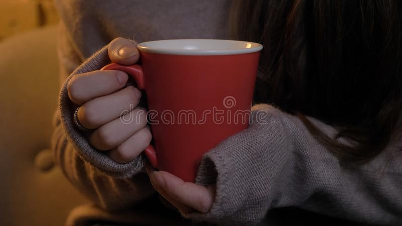 Closeup shoot of cute female hands holding a cup of warm tea indoors in a cozy apartment.  royalty free stock photography