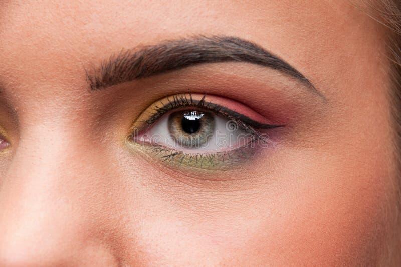 Closeup shoot eye make up zone stock image