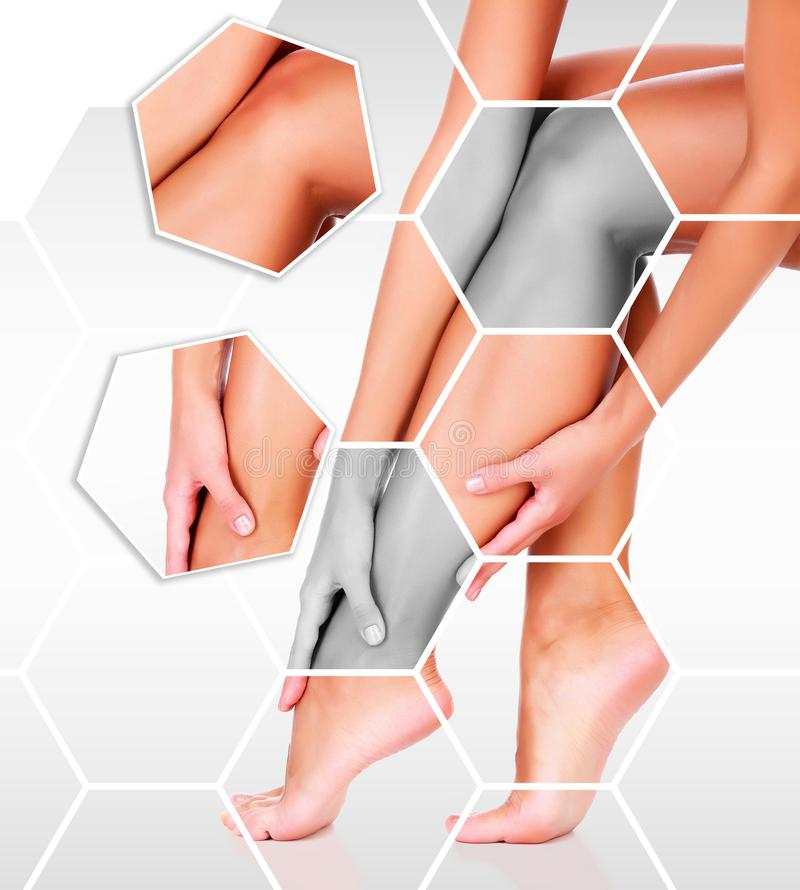 Closeup shot of beautiful female legs and hands. royalty free stock images