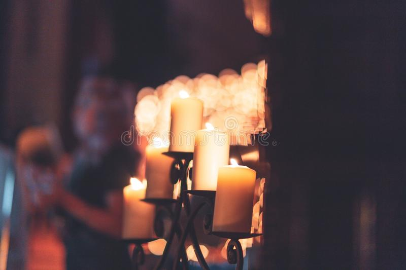 Closeup shot of candles on a candelabrum or candelabra. A closeup shot of candles on a candelabrum or candelabra stock photography