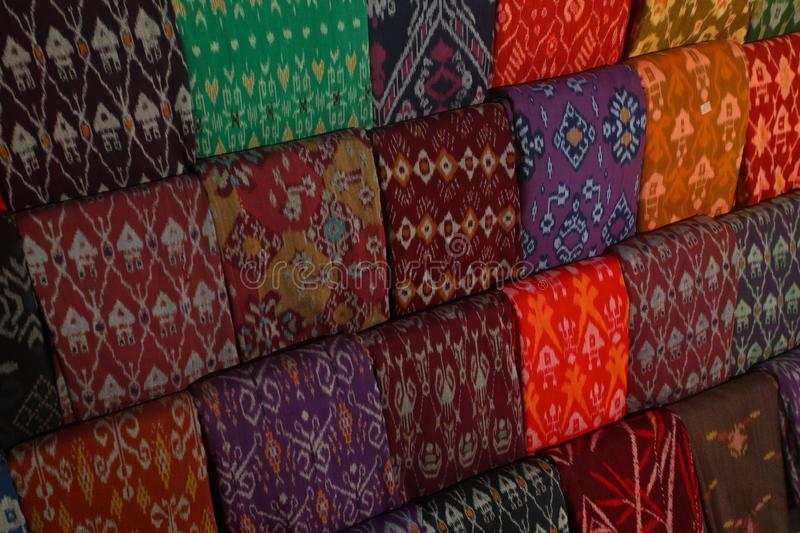 Closeup shot of colorful Batik fabric in Indonesia royalty free stock photography