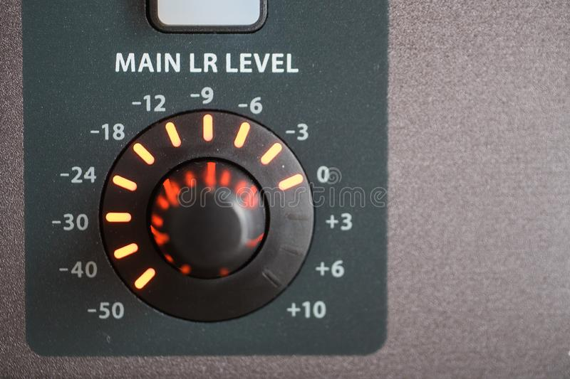 Closeup shot of the control panel of a professional audio recording system at a studio. A closeup shot of the control panel of a professional audio recording royalty free stock photos