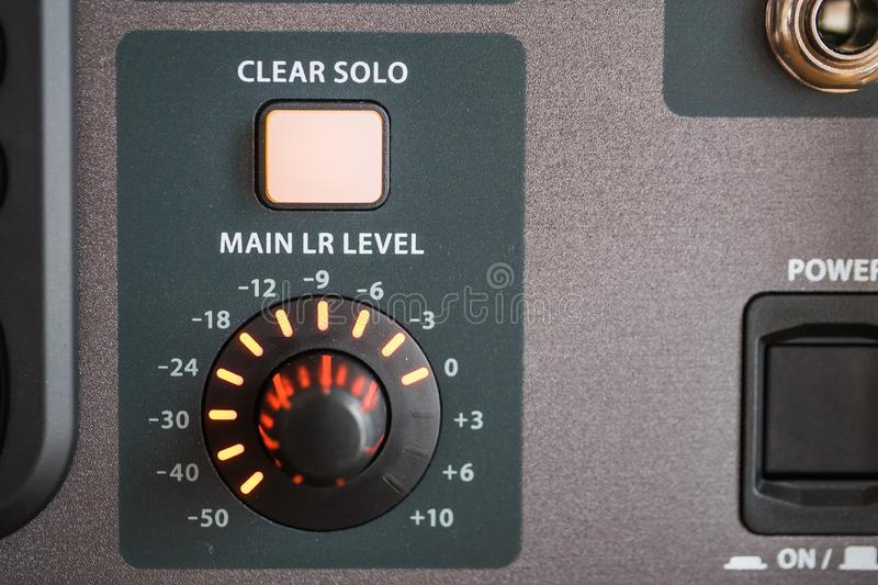 Closeup shot of the control panel of a professional audio recording system at a studio. A closeup shot of the control panel of a professional audio recording stock image